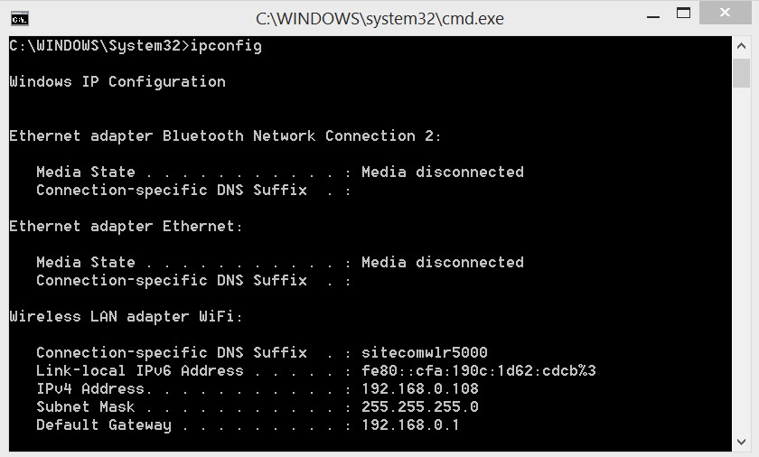 cmd ipconfig default gateway