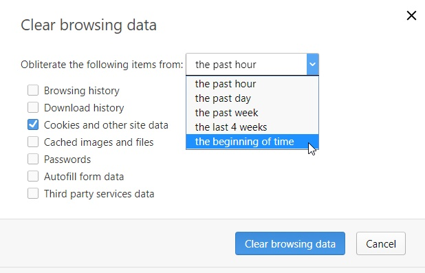 opera clear browsing data